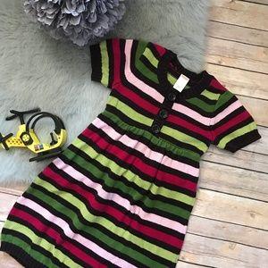 Gymboree Pups Kisses Button Stripe Sweater Dress 8